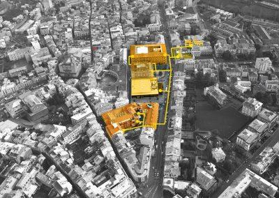 Visión aérea edificios conectados