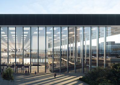 Los pilares de fachada y ciertas áreas funcionales soportarán la carga de la cubierta