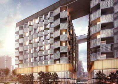 Los dos edificios están conectados por puentes en la cubierta que generan un nuevo espacio comunitario