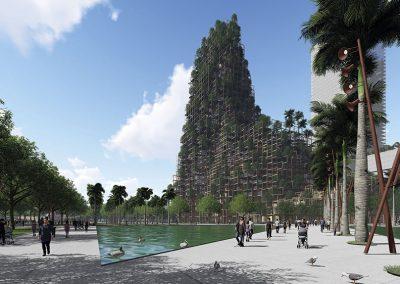 El icono del distrito será una montaña artificial de 200m de altura