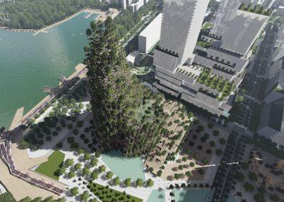 La montaña artificial con fachada de madera y árboles incluirá un centro de convenciones y un hotel