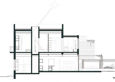 Sección longitudinal patio