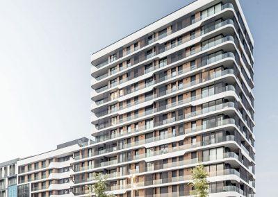 En la fachada se ha priorizado el uso de elementos industrializados, dando protagnismo a los paneles de GRC curvos y de diferentes geometrías