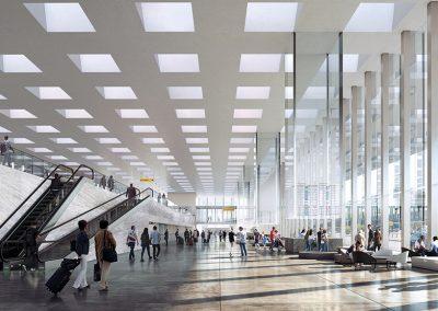 Espacioso vestíbulo iluminado con luz natural