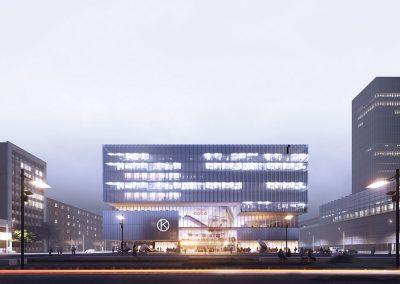 La distinta materialidad de las fachadas del edificio descubren los usos que lo componen